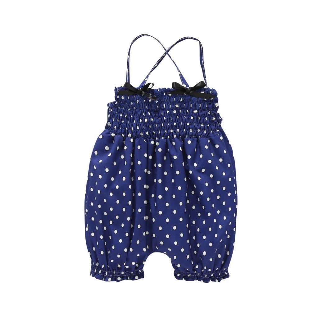 Criss Cross Stretchable Waist Polka Dot Jumpsuit - Rompers - baby-petite