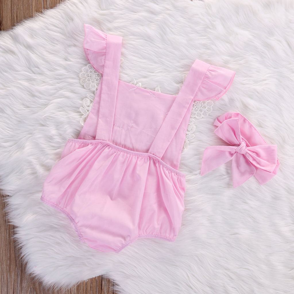 Sweet Pink Princess Lacey Romper With Matching Headband - Rompers - baby-petite