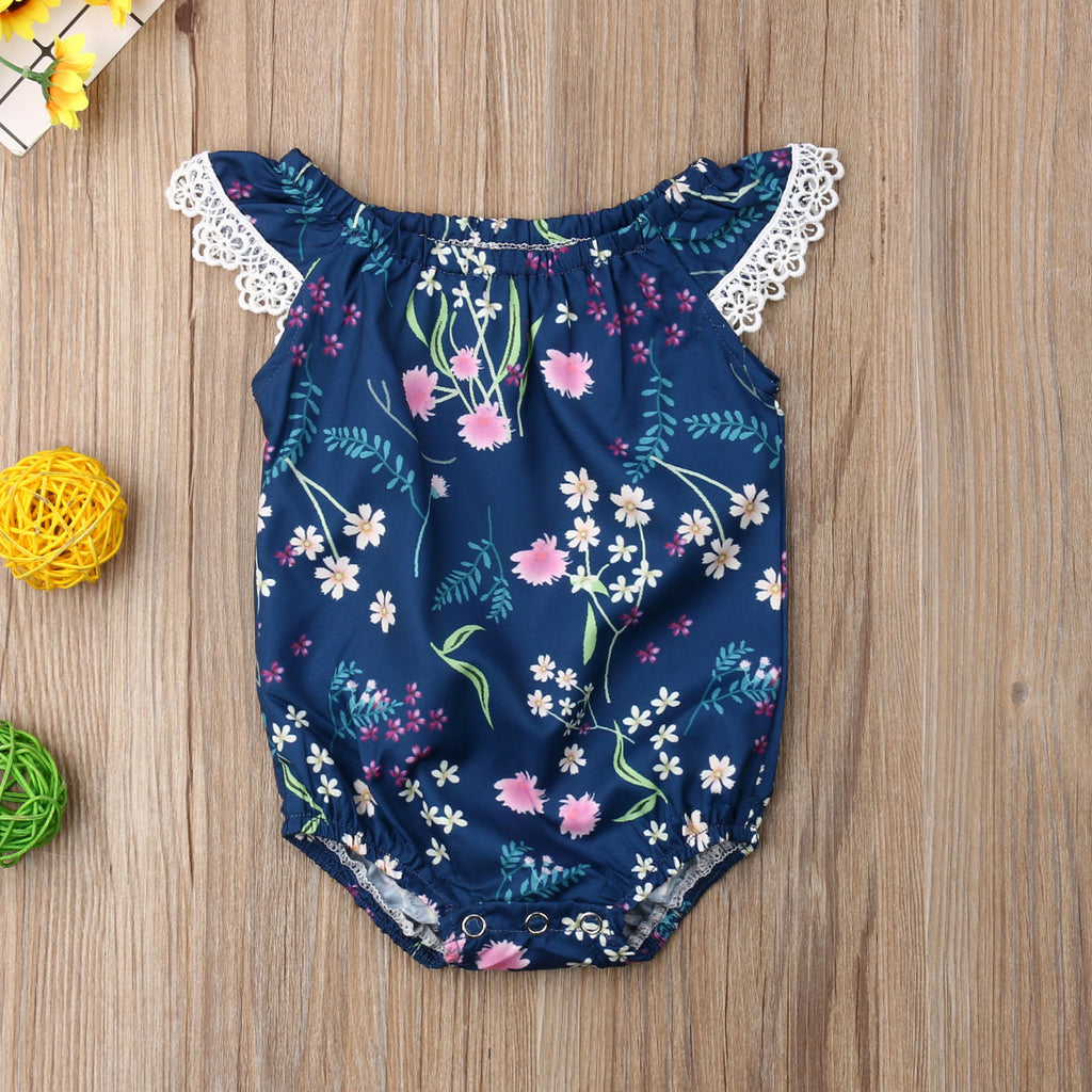 Little Floral Petals & Leafs Lace Romper - Rompers - baby-petite
