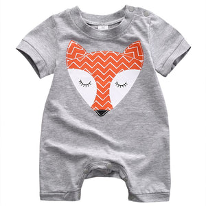 Curious Little Fox Grey Romper