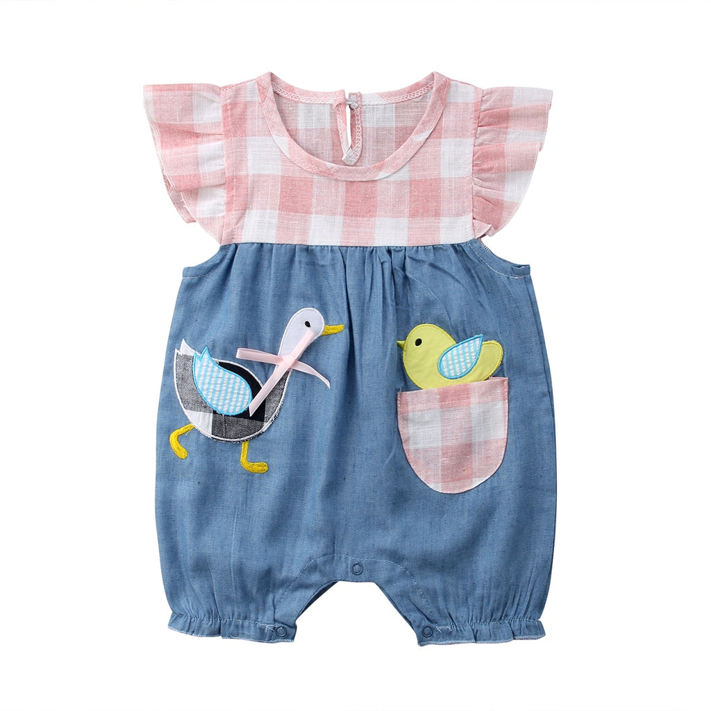 Little Chirp Chirp Gingham Denim Romper - Rompers - baby-petite