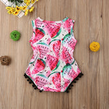Colorful Watermelon Pom Pom Romper - Rompers - baby-petite