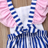 Pink Lady Vertical Striped Romper With Matching Headband - Rompers - baby-petite