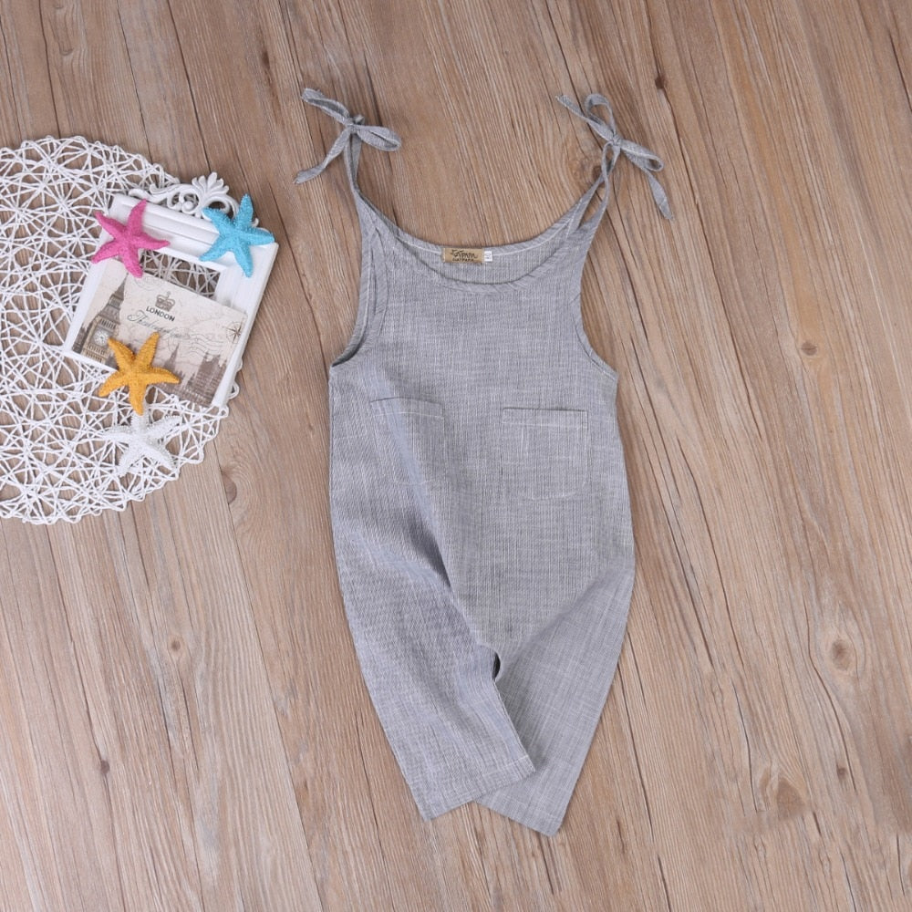 The Grey Morning Linen Pocket Jumpsuit - Rompers - baby-petite