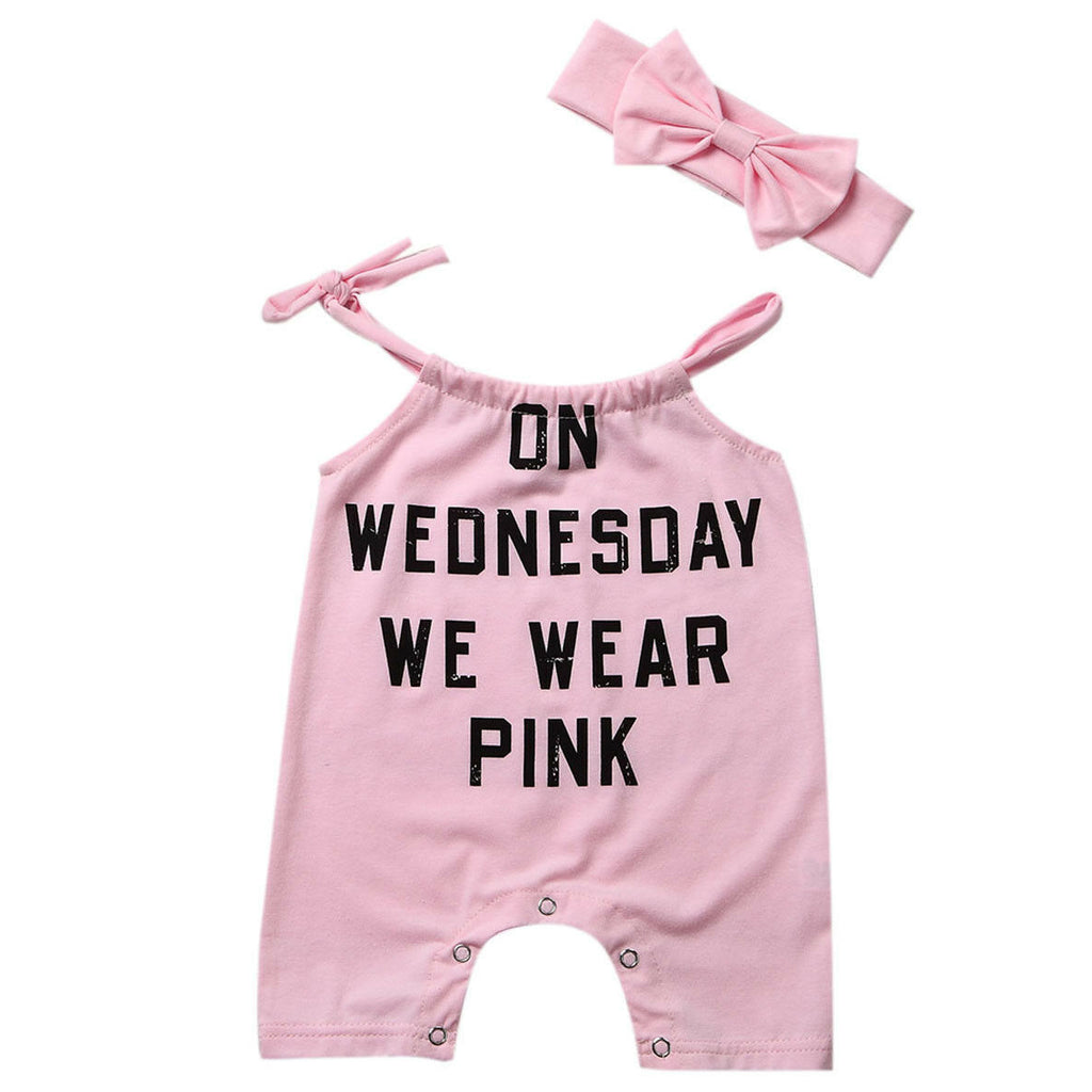 On Wednesday We Wear Pink Romper With Matching Headband - Rompers - baby-petite