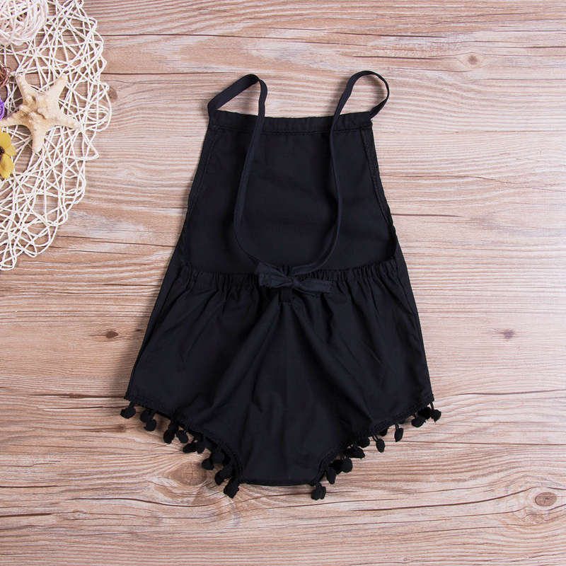 Little Black Pom Pom Romper - Rompers - baby-petite