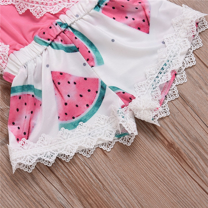Rosy Watermelon Lace Cross Back Romper - Rompers - baby-petite