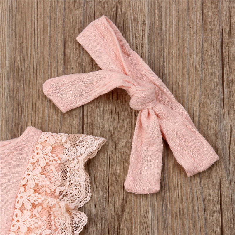 Little Peachy Lace Romper With Matching Headband - Rompers - baby-petite
