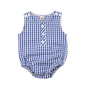 Blue Crinkled Plaid Button Romper