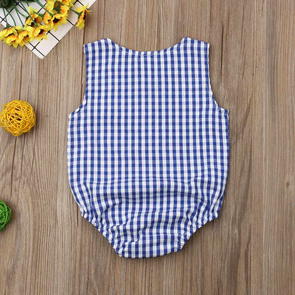 Blue Crinkled Plaid Button Romper - Rompers - baby-petite