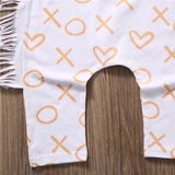 Heart Cross XOXO Fringe Romper With Matching Headband