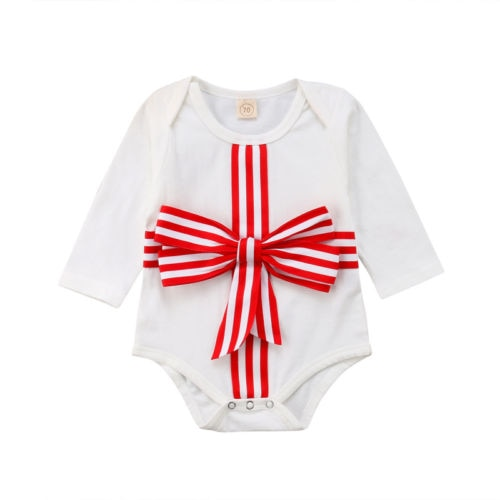 I Am The Gift Red Bow Romper - Rompers - baby-petite