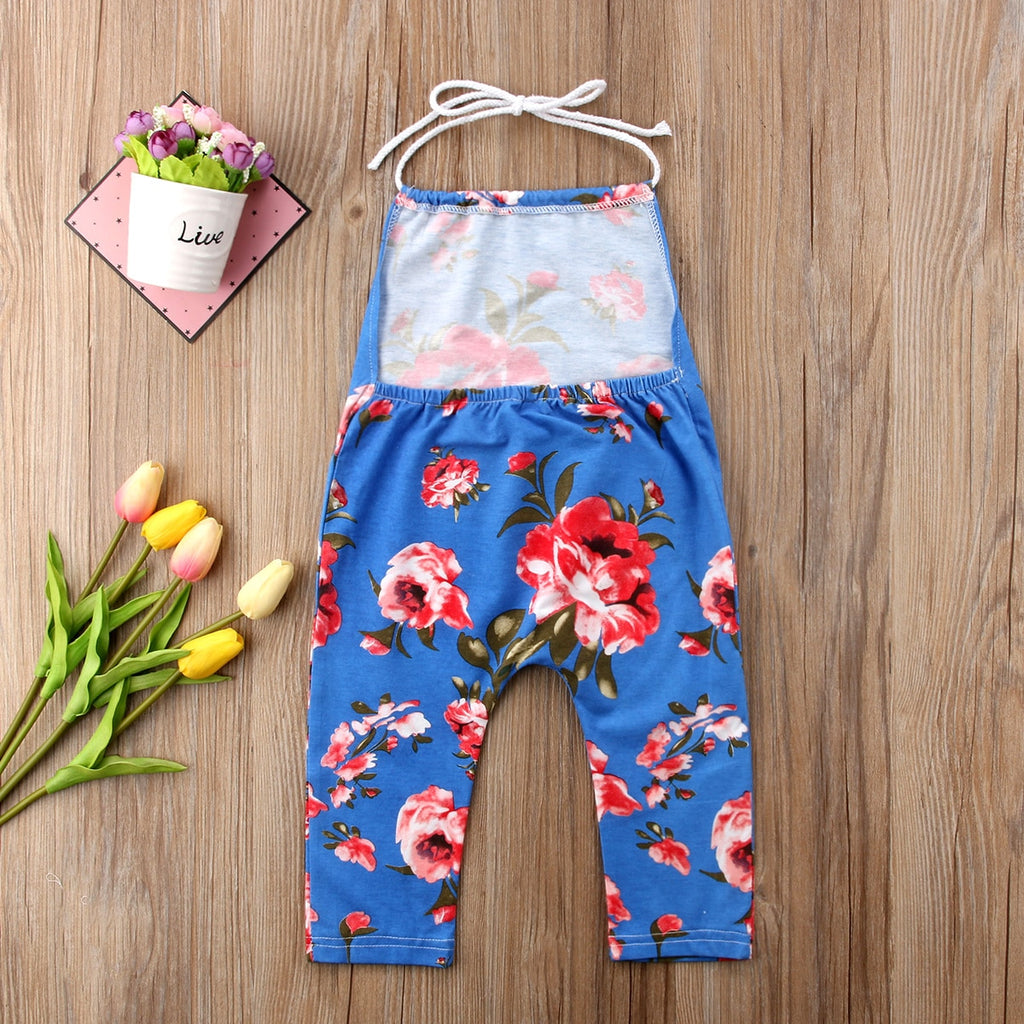 Beryl Crimson Floral Backless Jumpsuit - Rompers - baby-petite