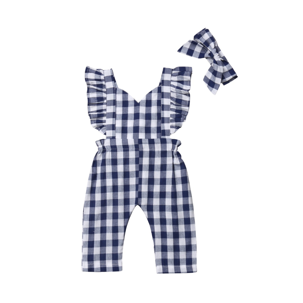 Trendy Vogue Plaid Jumpsuit With Matching Headband