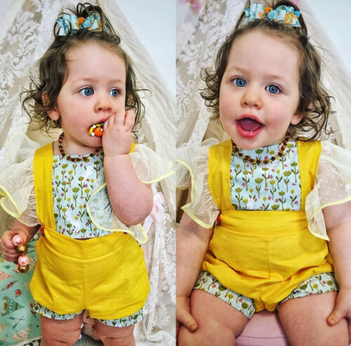 Yellow Strawberry Field Ruffle Romper - Rompers - baby-petite