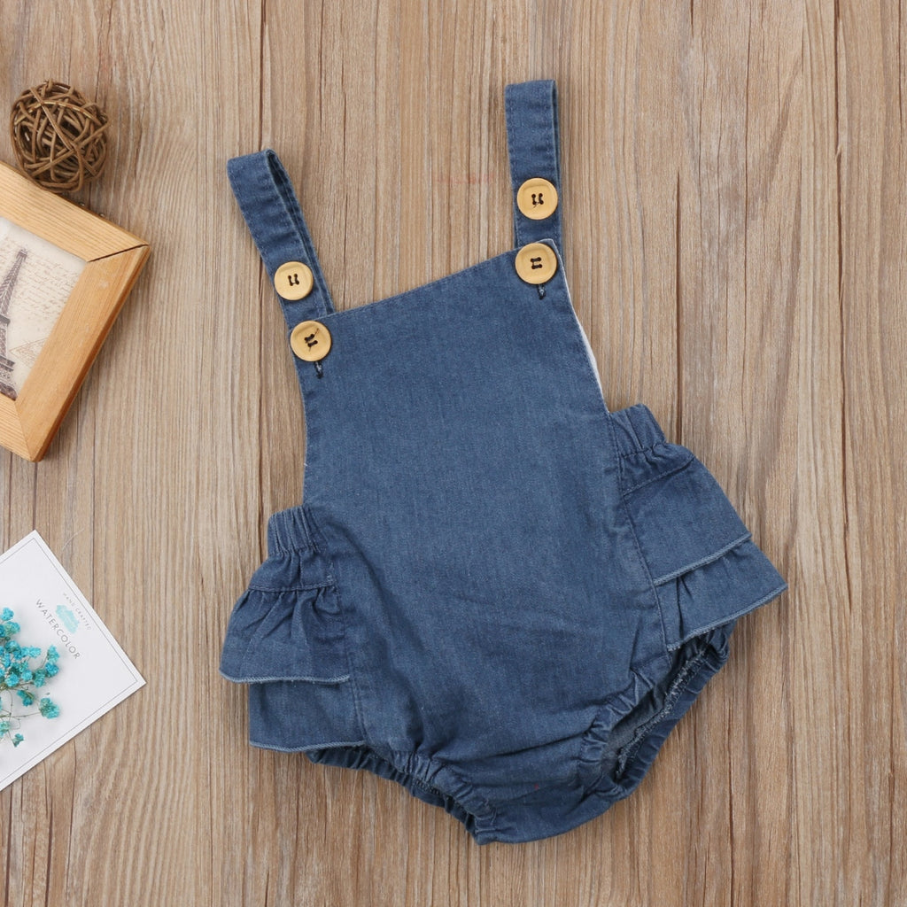 Navy Button Denim Romper - Rompers - baby-petite