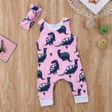 Gentle Pink Dinosaur Romper With Matching Headband