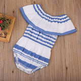 Evie Blue Striped Off Shoulder Romper - Rompers - baby-petite