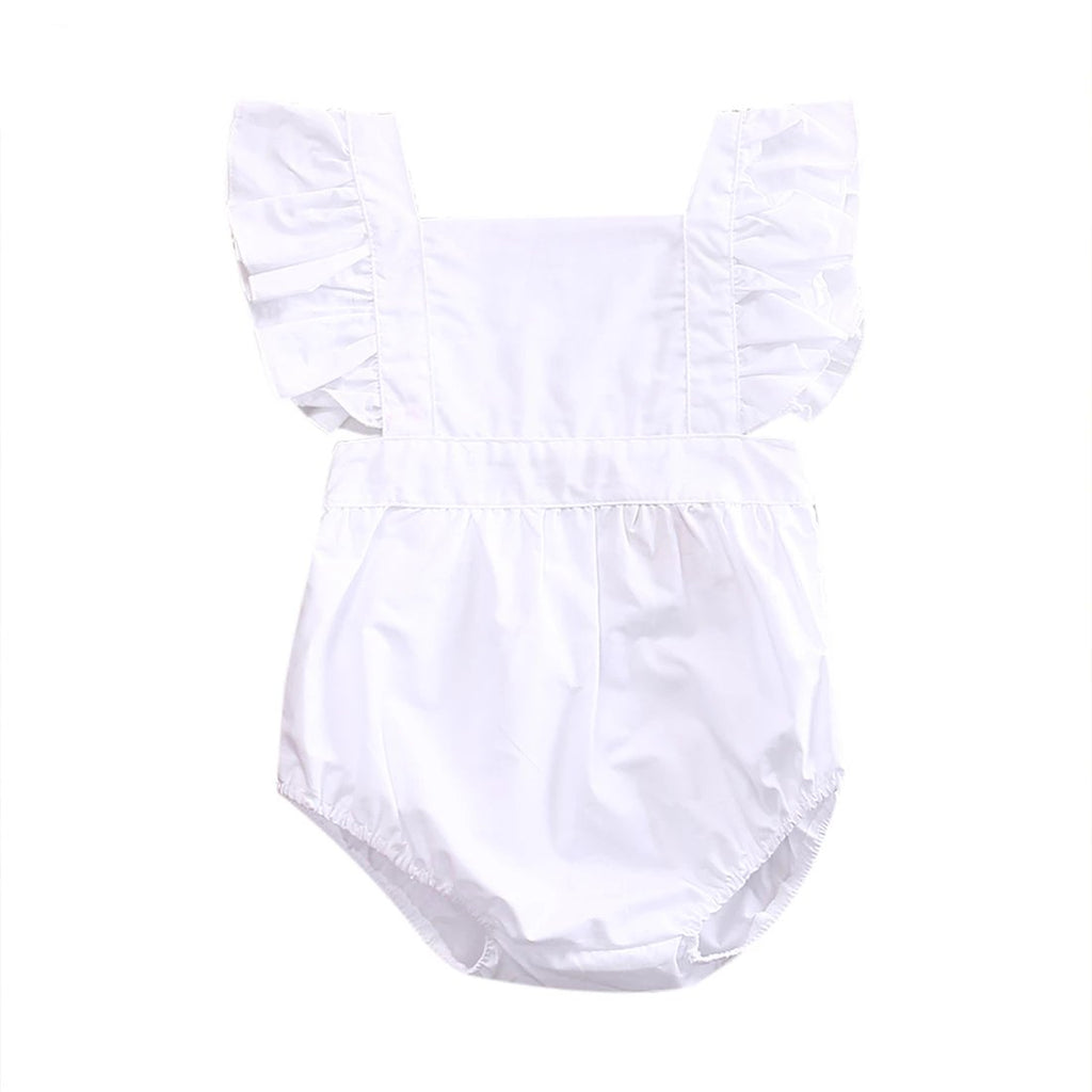 Florence White Ruffle Summer Romper - Rompers - baby-petite