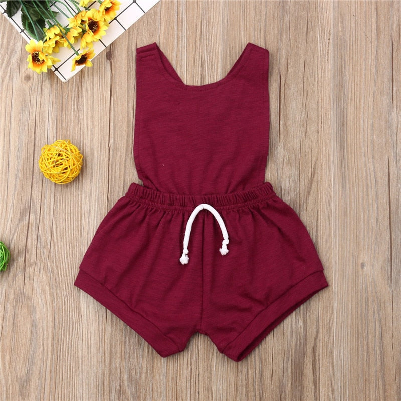 The Holiday Drawstring Cross Back Romper