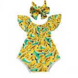 Yellow Mellow Melon Off Shoulder Romper With Matching Headband - Rompers - baby-petite