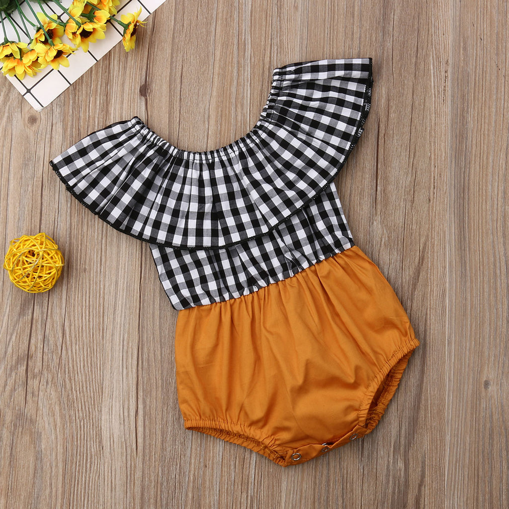 Sienna Gingham Off Shoulder Romper - Rompers - baby-petite