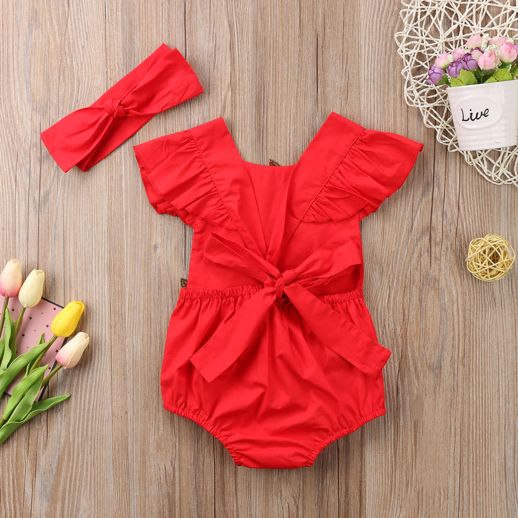 Red Red Roses Romper With Matching Headband - Rompers - baby-petite