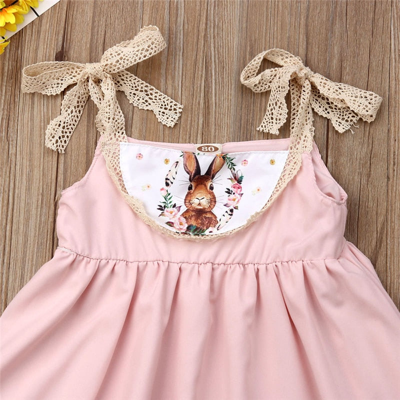 Isla Soft Pink Bunny Strappy Dress - Dresses - baby-petite