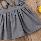 Silver Ruffle Cross Back Overall Dress - Dresses - baby-petite