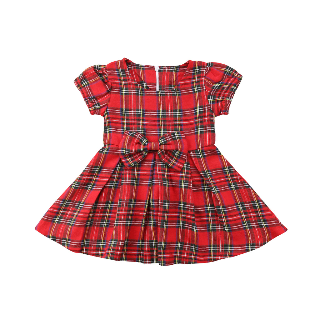 Mary Red Plaid Bow Knot Dress - Dresses - baby-petite