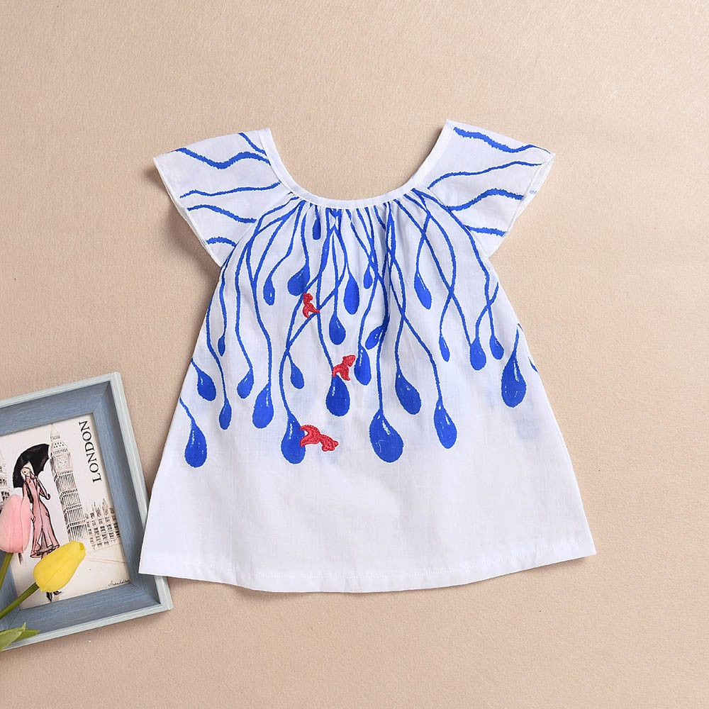 Blue Coral Droplets White Dress - Dresses - baby-petite