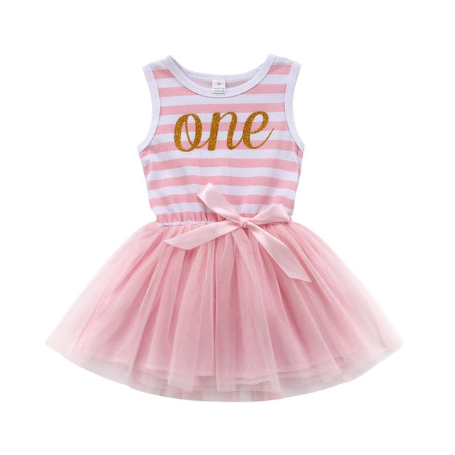 Only One Pink Striped Tulle Dress - Dresses - baby-petite