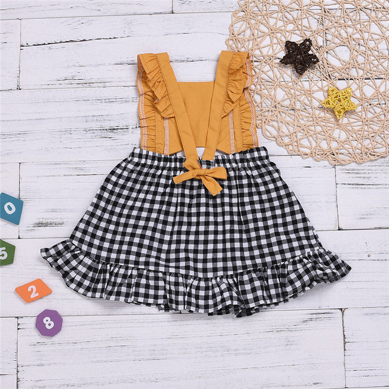 Mia Mustard Ruffle Plaid Dress