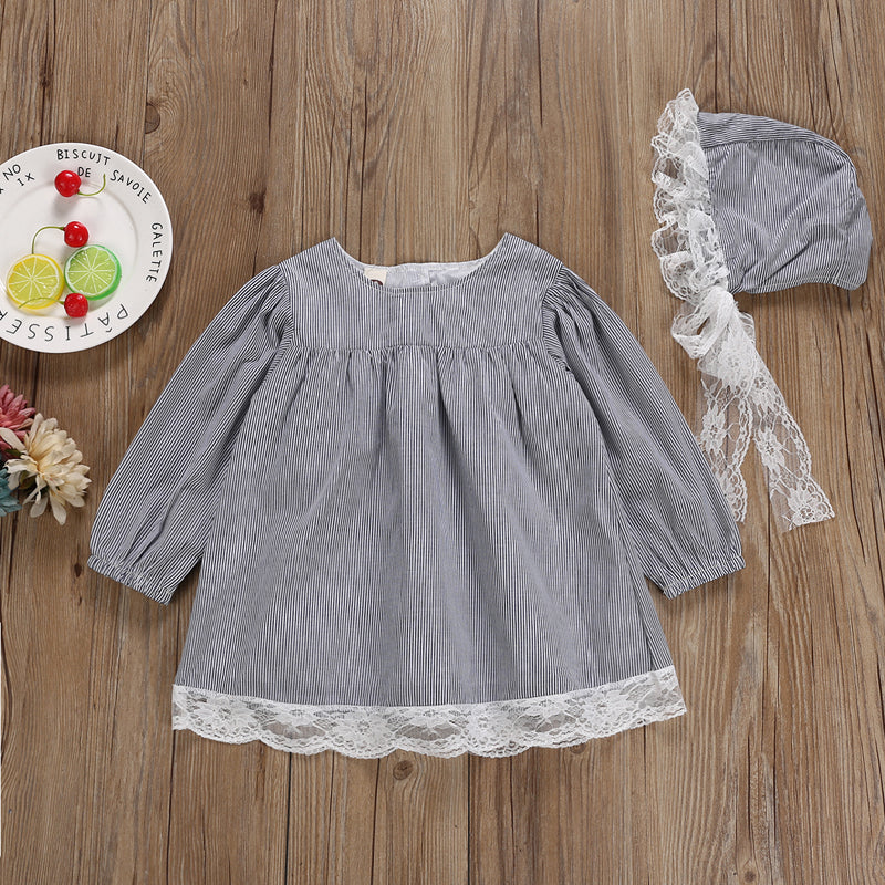 Ash Thin Striped Lace Dress With Matching Headband - Dresses - baby-petite