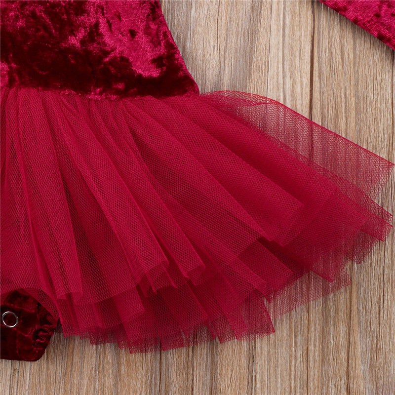 Red Velvet Tulle Long Sleeve Dress - Dresses - baby-petite