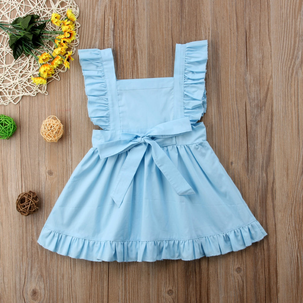 Baby Blue Ruffle Bow Back Dress - Dresses - baby-petite