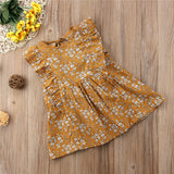 Vintage White Daisy Mustard Dress