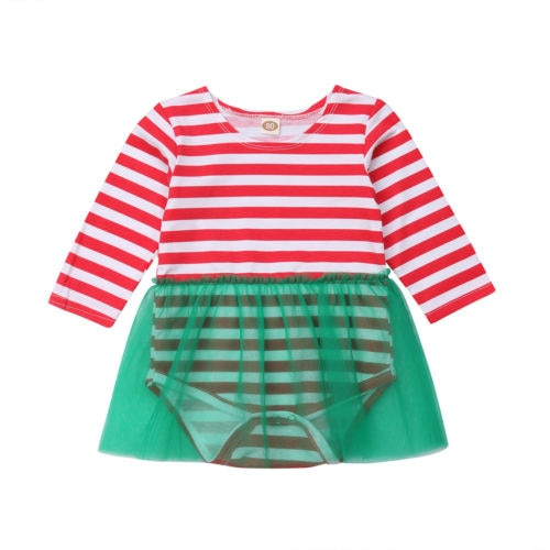 Little Elf Red Striped Green Tulle Dress - Dresses - baby-petite