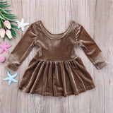 Bronze Velvet Party Dress - Dresses - baby-petite