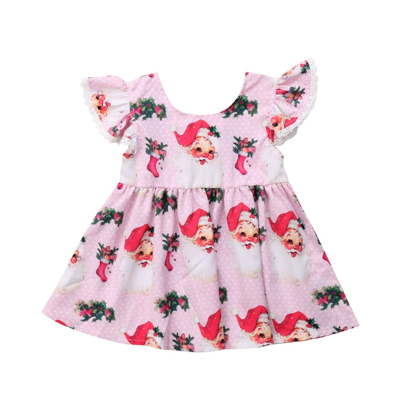 Sweet Pink Santa Claus Christmas Dress - Dresses - baby-petite