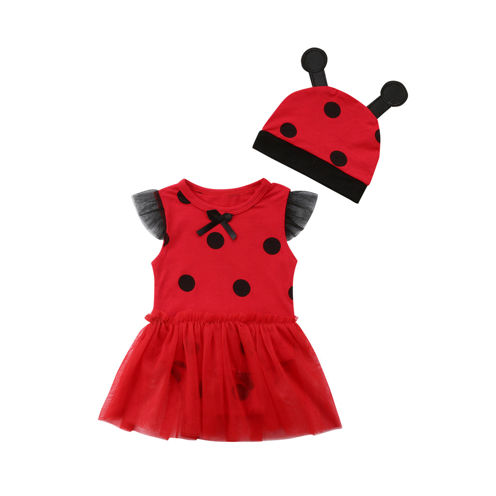 Little Lady Bug Dress With Matching Headband - Dresses - baby-petite