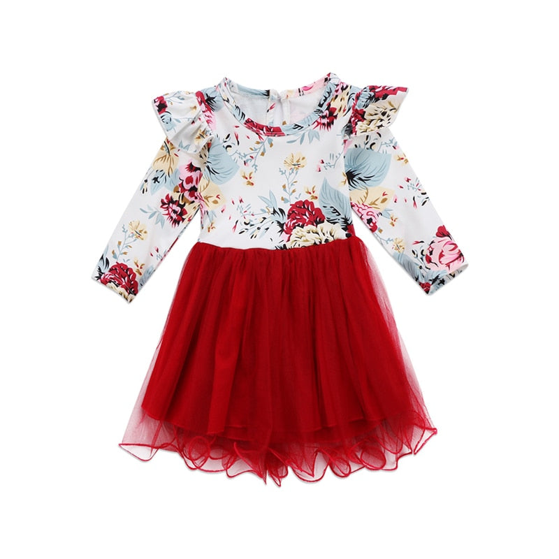 Red Puffy Tulle Floral Dress