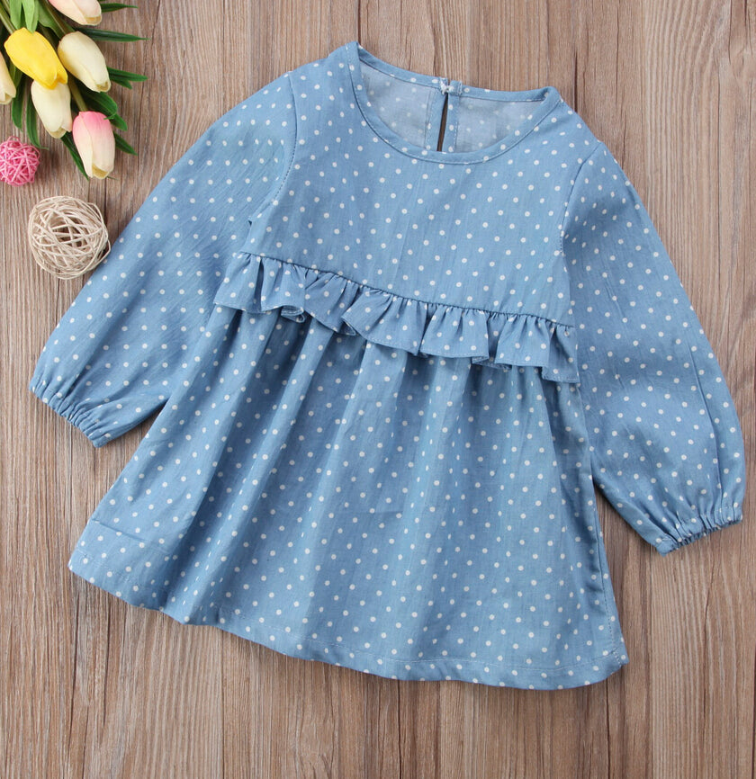 Reese Polka Dot Denim Dress - Dresses - baby-petite