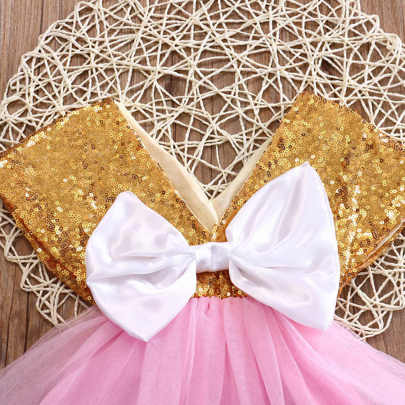 Golden Queen Sequin Bow Dress - Dresses - baby-petite