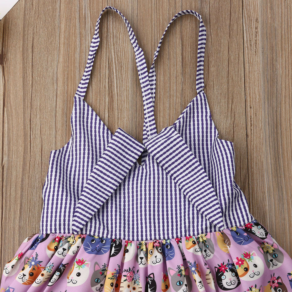 Lovely Kitty Striped Lace Dress - Dresses - baby-petite