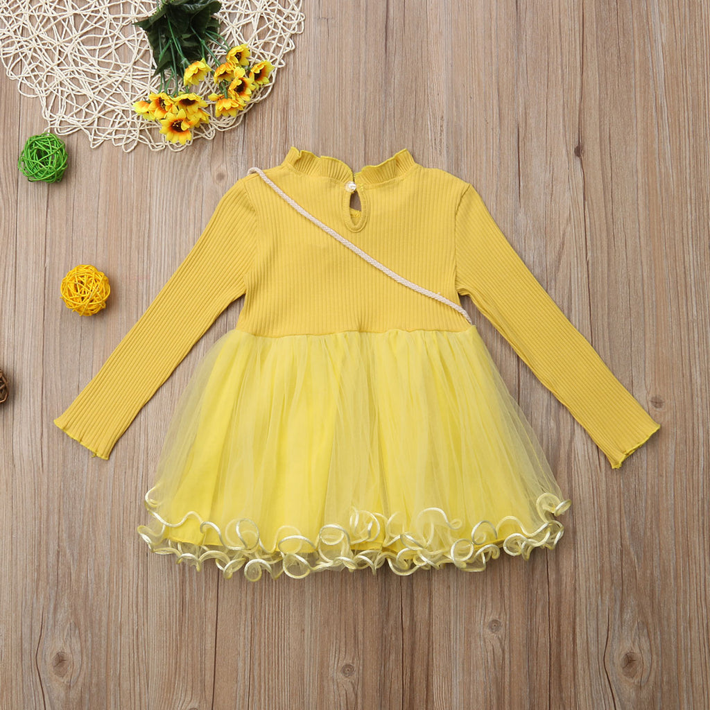 Princess Pineapple Tulle Dress With Matching Handbag - Dresses - baby-petite