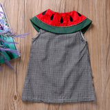 Watermelon Collar Plaid Button Dress