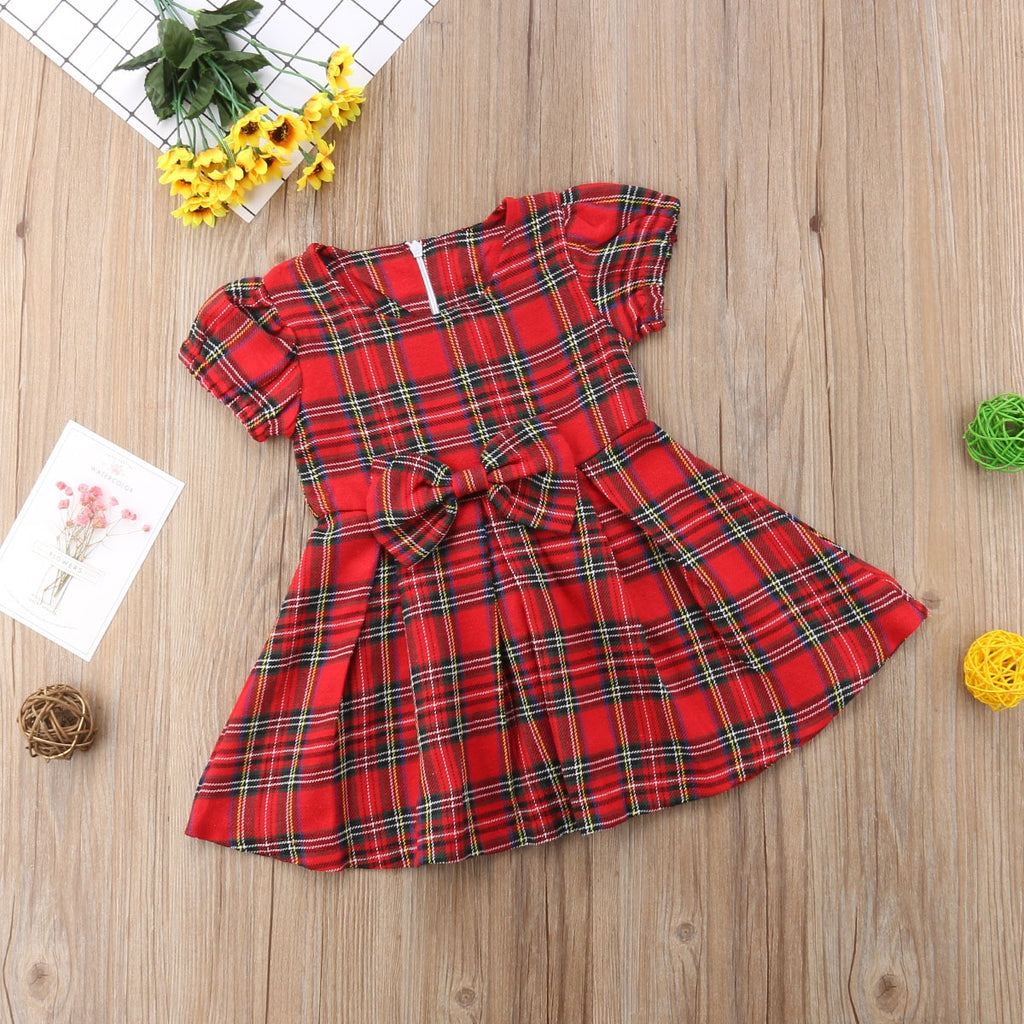 Nora Plaid Red Bow Knot Dress