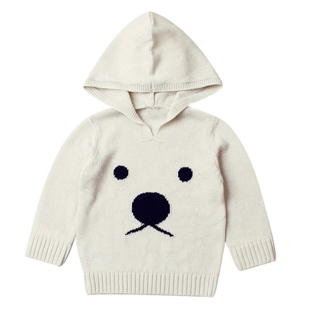 Fluffy Polar Bear Hooded Sweater
