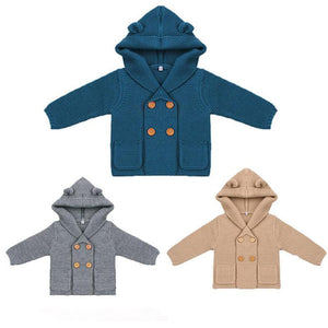 Georgie Bear Ear Hooded Button Jacket - Jackets & Outerwear - baby-petite